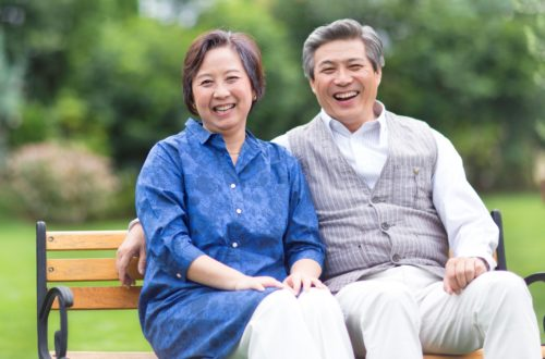 Japanese senior couple in the park